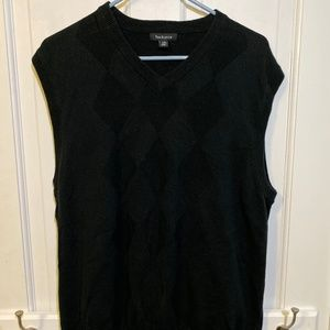 Van Heusen Black Argyle Sweater Vest - Large